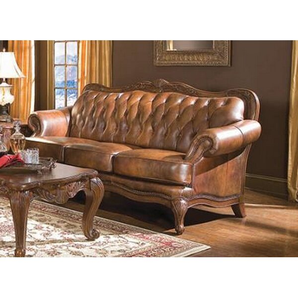 Upsala Leather Sofa by Astoria Grand