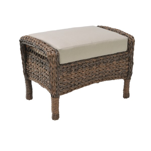 Nicky Modern Faux Sea Grass Resin Rattan Outdoor Ottoman With Cushion By Bay Isle Home