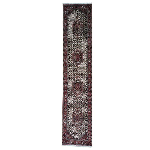 One-of-a-Kind Gillock Bidjar Mahi Oriental Hand-Knotted Silk Ivory Area Rug by World Menagerie