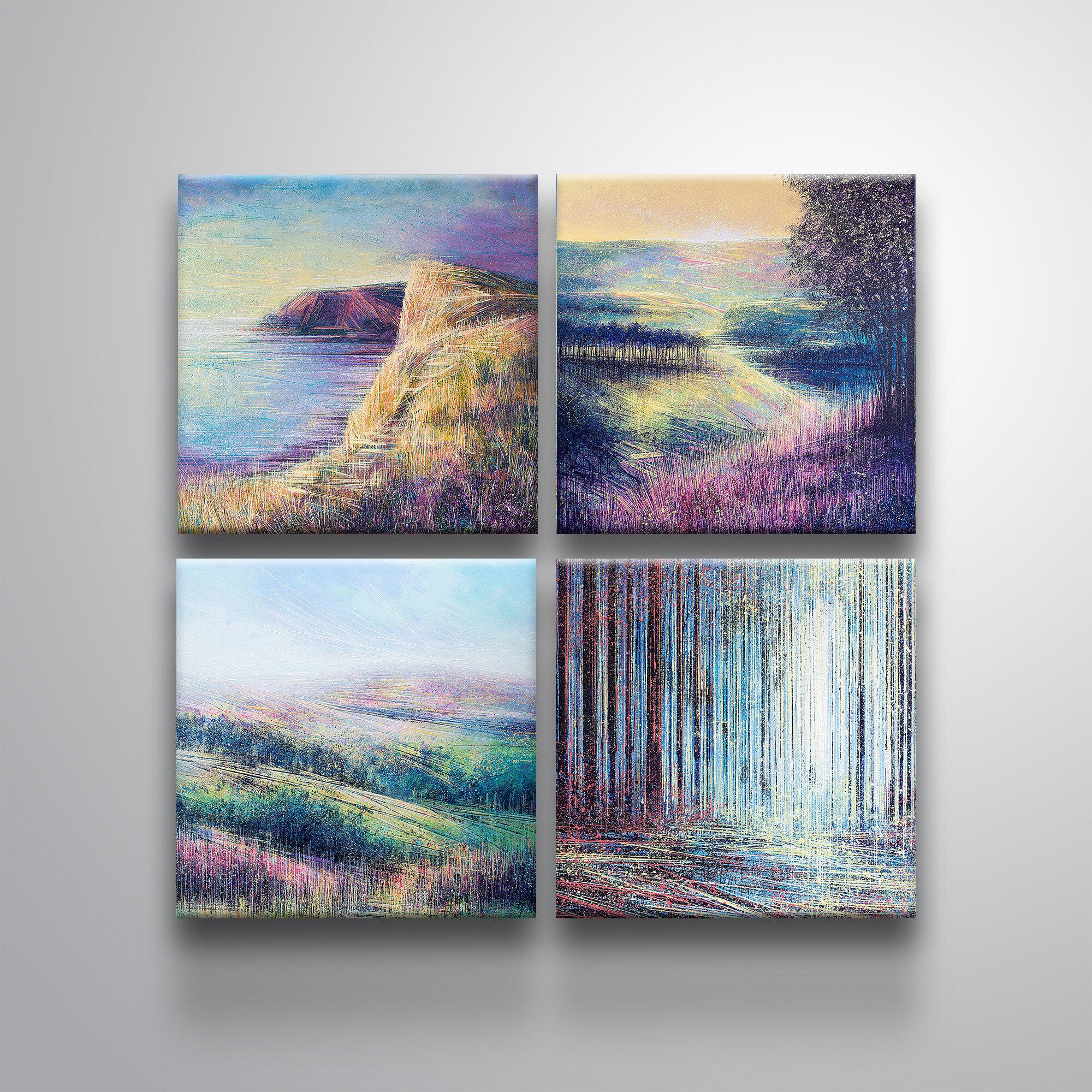 Ivy Bronx Pastel Landscapes 4 Piece Acrylic Painting Print Set On Canvas Wayfair