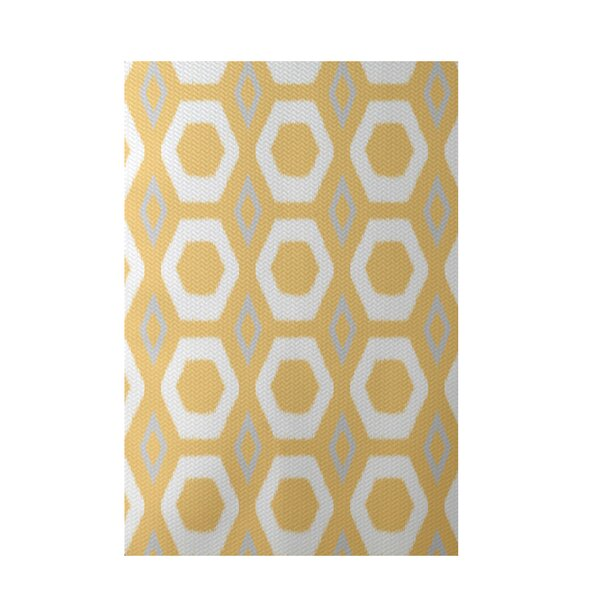 More Hugs and Kisses Geometric Print Yellow Indoor/Outdoor Area Rug by e by design