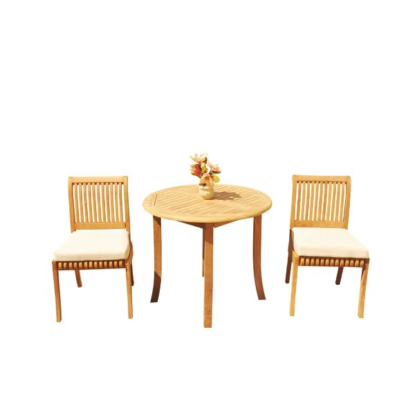 Massenburg 3 Piece Teak Bistro Set by Rosecliff Heights