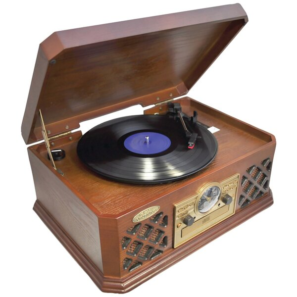 Retro Style Turntable with Bluetooth CD Player and