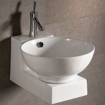 Isabella Ceramic 17 Wall Mount Bathroom Sink with Overflow by Whitehaus Collection
