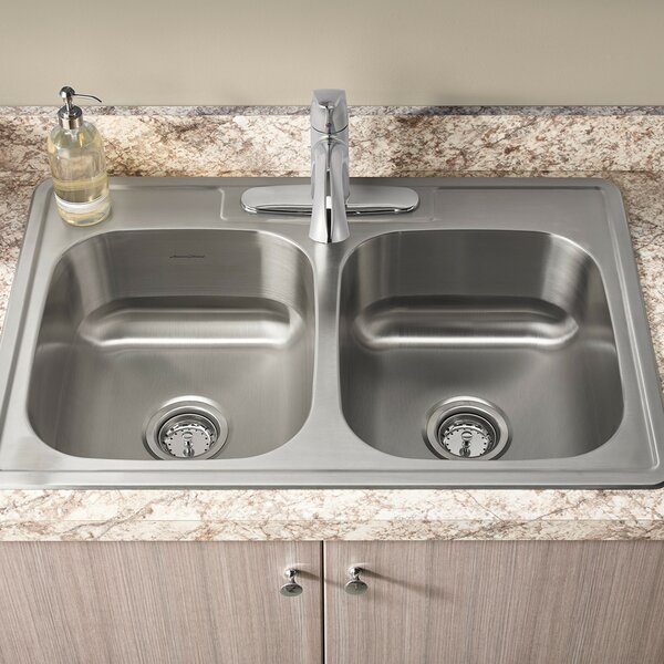 Colony 33 L x 22 W Double Basin Drop-In Kitchen Sink with Faucet and Drain by American Standard
