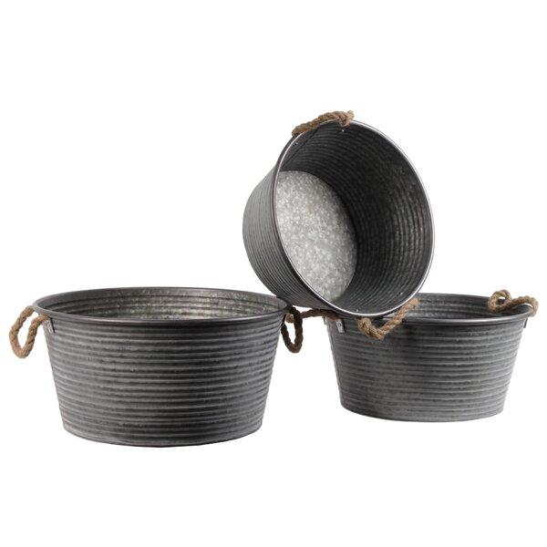 Mazur Round Ribbed Design Metal Pot Planter Set (Set of 3) by Gracie Oaks