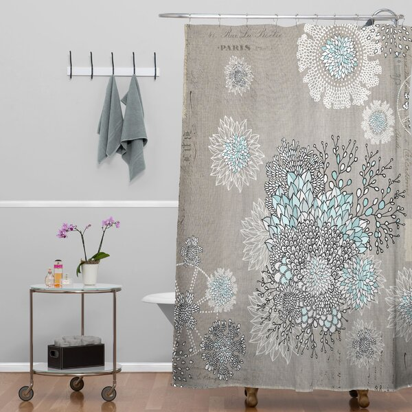 Holley French Blue Extra Long Shower Curtain by Bungalow Rose