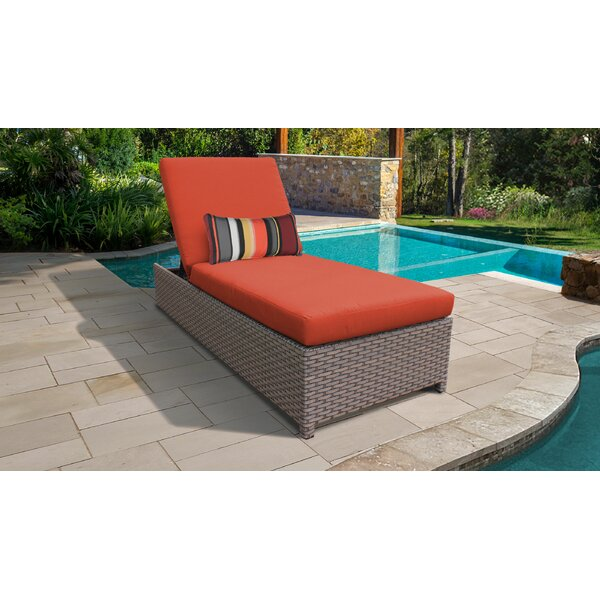 Rochford Wheeled Outdoor Wicker Reclining Chaise Lounge with Cushion by Sol 72 Outdoor Sol 72 Outdoor