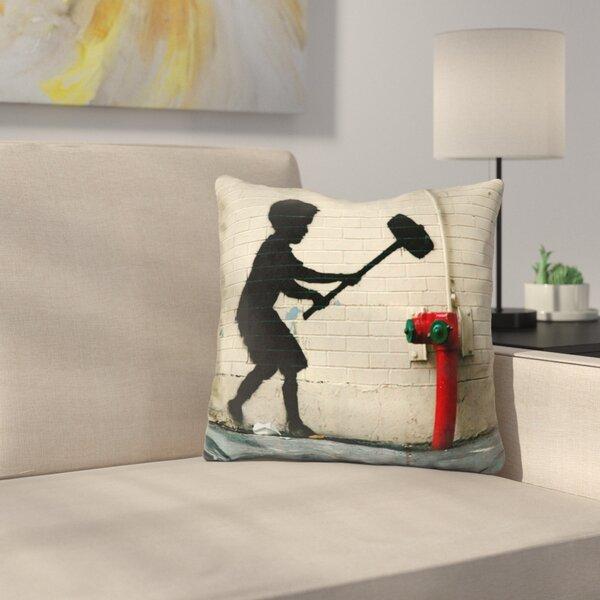 Hammer Boy Throw Pillow by East Urban Home