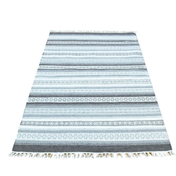 Striped Reversible Kilim Flat Weave Hand-Knotted Charcoal Black/Ivory Area Rug by Bloomsbury Market
