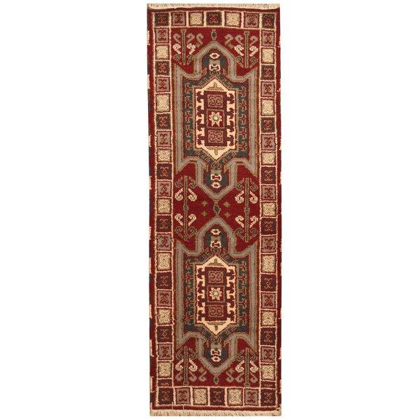 Kazak Hand-Knotted Burgundy/Ivory Area Rug by Herat Oriental