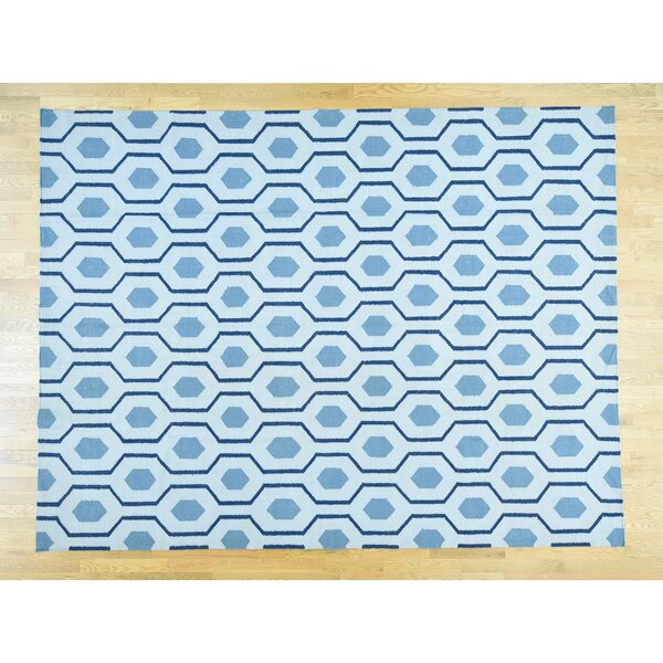 One-of-a-Kind Braxton Geometric Design Reversible Handmade Kilim Blue Wool Area Rug by Isabelline