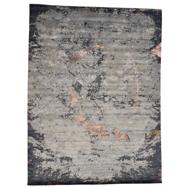 One-of-a-Kind Abstract Hand-Knotted Gray Area Rug by Williston Forge