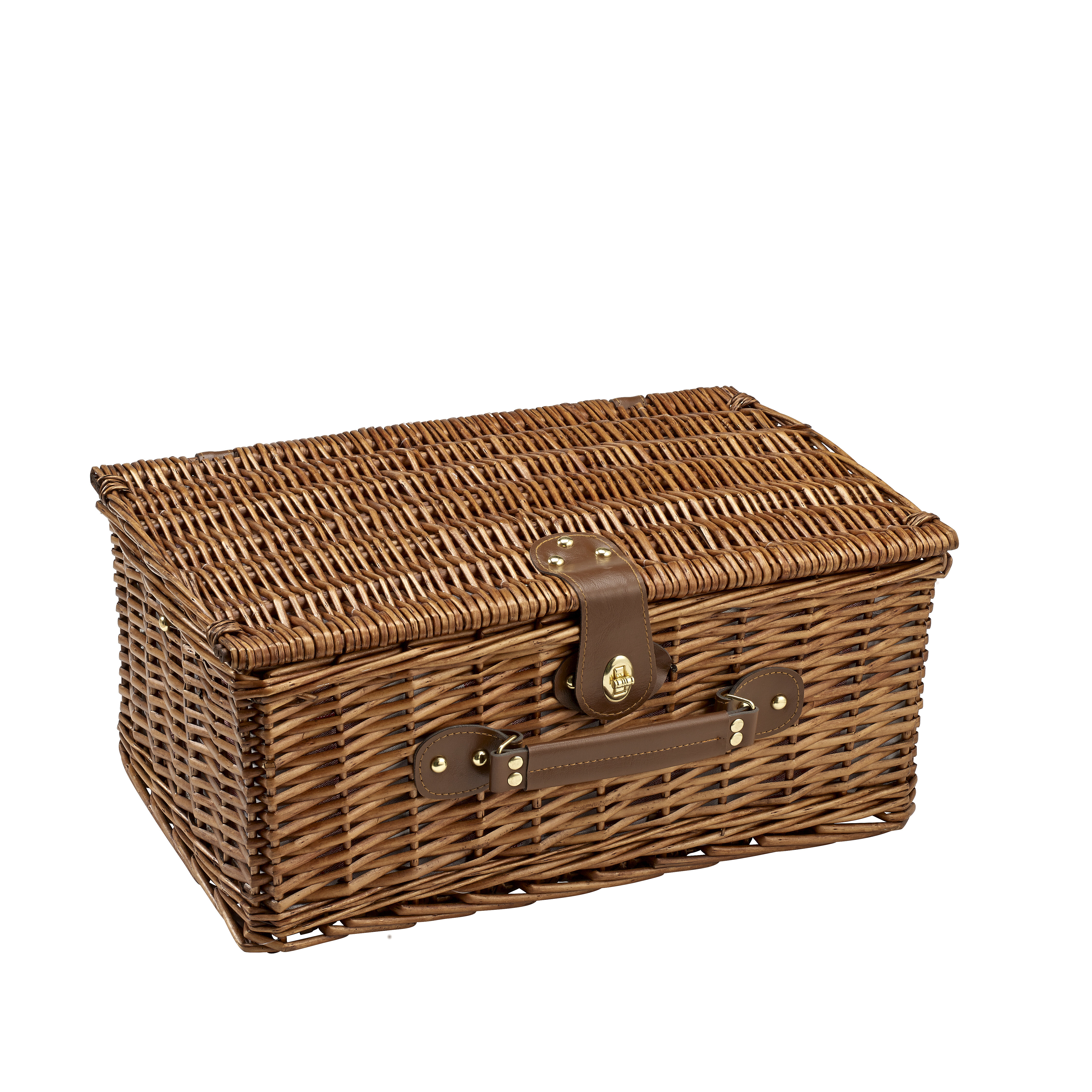 Set Of 2 Picnic Baskets With Lid Suitcase Style With Brown Fuax Leather Handle //Antique Style Lock