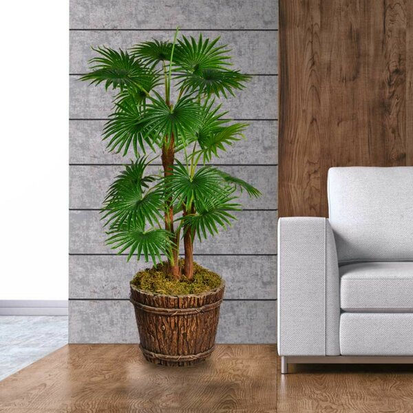 Artificial Indoor/Outdoor Décor Floor Palm Tree in Planter by Loon Peak