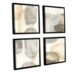 Neutral Stones I 4 Piece Framed Painting Print on Canvas Set by Latitude Run