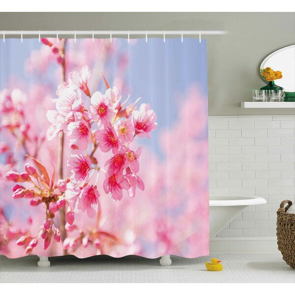 Sakura Blossom Shower Curtain by East Urban Home