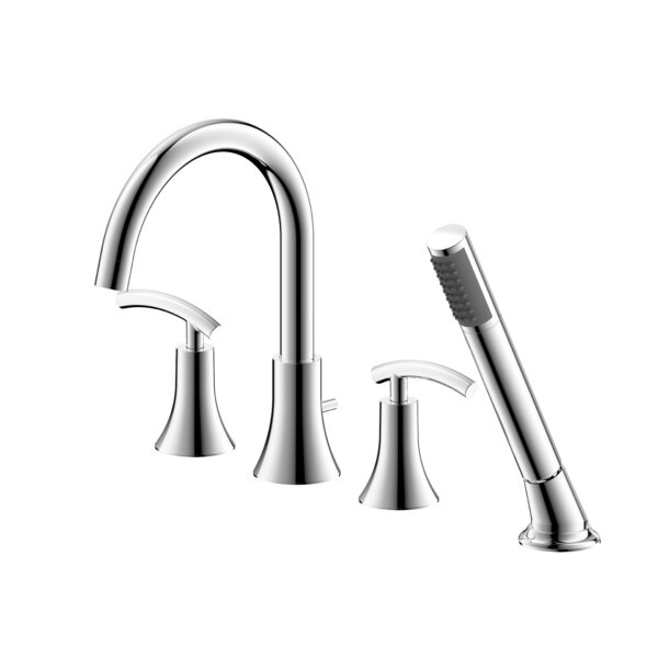 Sweep Double Handle Deck Mounted Roman Tub Faucet with Diverter and Handshower by Ultra Faucets Ultra Faucets