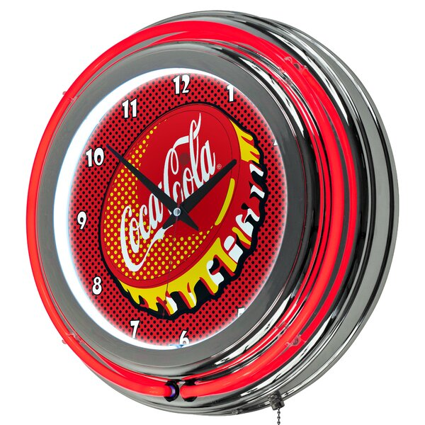 Coca Cola Pop Art Neon 14.5 Wall Clock by Trademark Global