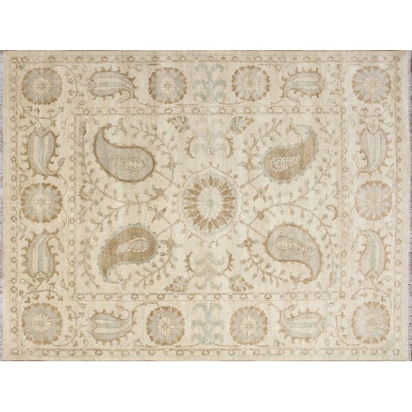 One-of-a-Kind Romona Hand-Knotted Suzani Ivory Area Rug by Isabelline