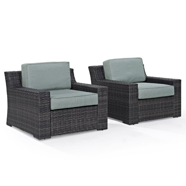 Linwood Deep Seating Patio Chair with Cushions (Set of 2) by Beachcrest Home