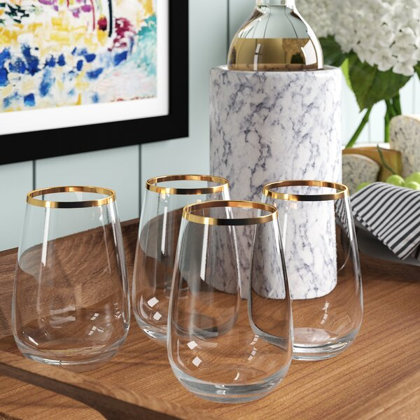 Georgio Band 15 Oz. Stemless Wine Glass (Set of 4) by Mint Pantry