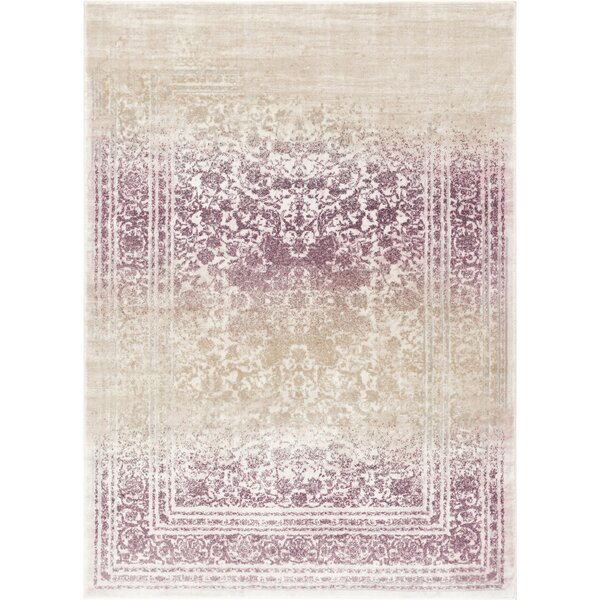 Aya Distressed Medallion Lavender/Beige Area Rug by Bungalow Rose