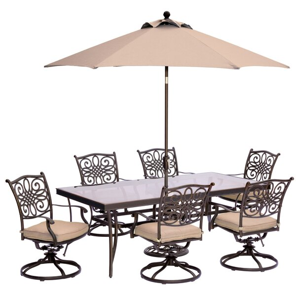 Lauritsen 7 Piece Dining Set with Cushions and Table Umbrella by Three Posts