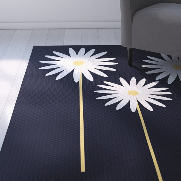 Omar Floral Print Blue Indoor/Outdoor Area Rug by August Grove