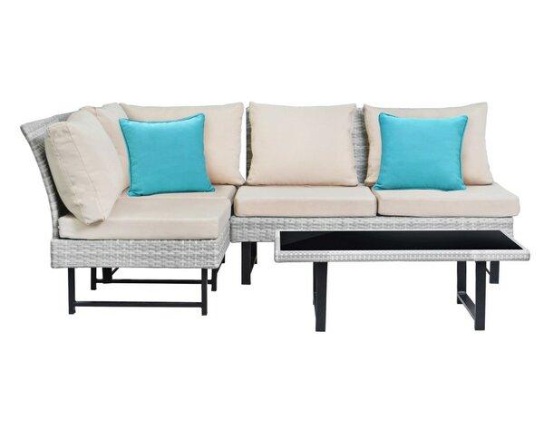 Getty 4 Piece Rattan Sofa Set with Cushions by Ebern Designs