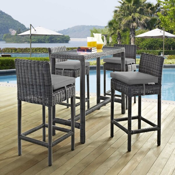Keiran 5 Piece Outdoor Patio Sunbrella® Pub Set in Canvas Gray by Brayden Studio