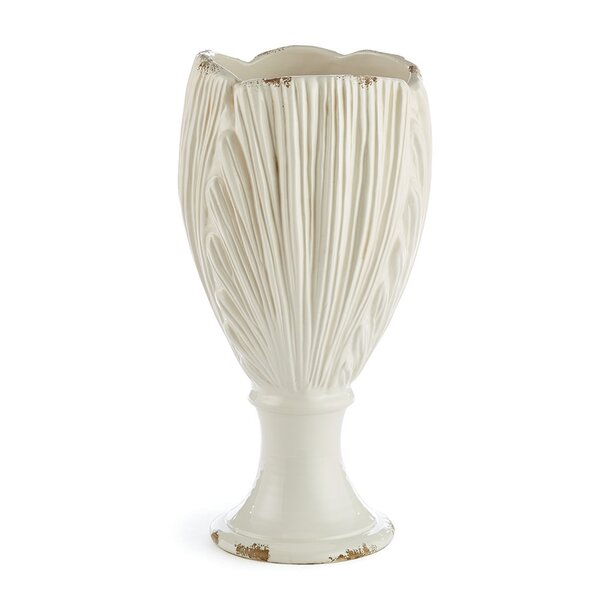 Solana Scallop Shell Footed White Ceramic Table Vase by Rosecliff Heights