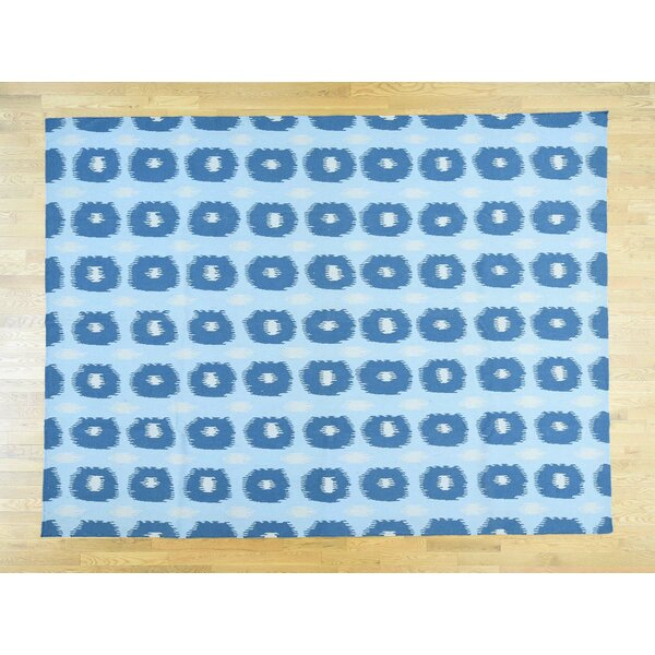 One-of-a-Kind Bray Reversible Handmade Kilim Blue Wool Area Rug by Isabelline