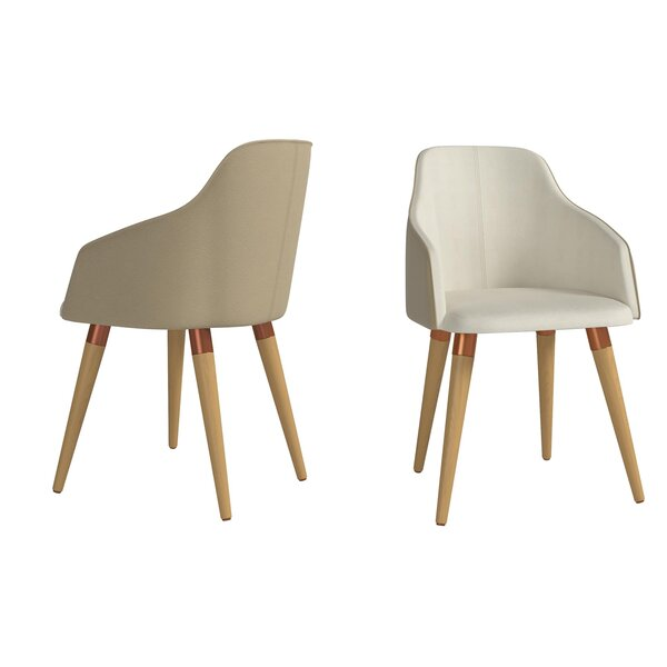 Manzano Double-Sided Fabric Leather Armchair By George Oliver