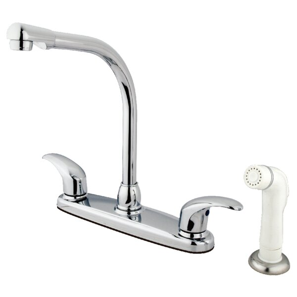 Victorian Centerset Double Handle Kitchen Faucet with Side Spray by Kingston Brass