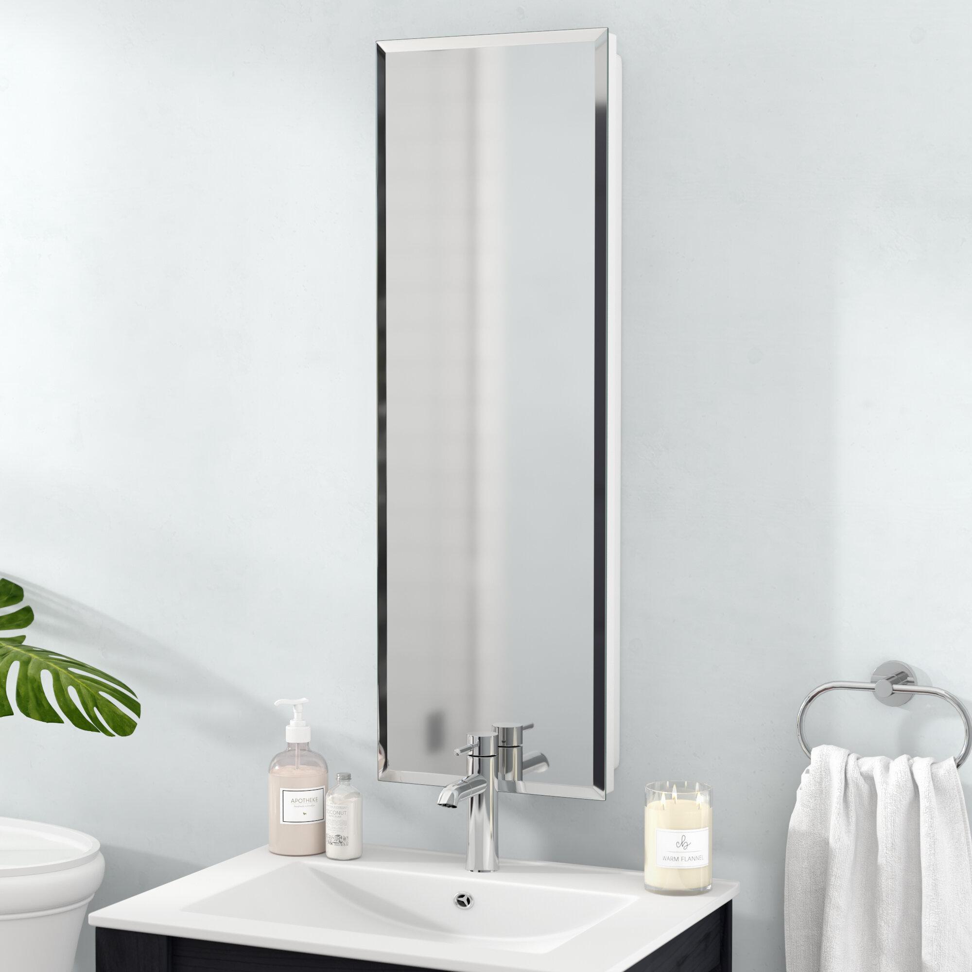 "Orren Ellis Ginnifer 12"" x 36"" Recessed Medicine Cabinet with 5 Adjustable Shelves & Reviews | Wayfair"