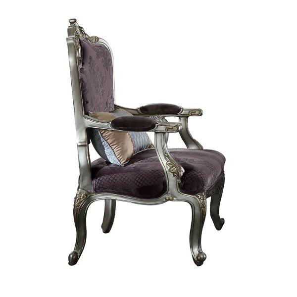 Sherrie Velvet Upholstered Wooden Armchair by House of Hampton