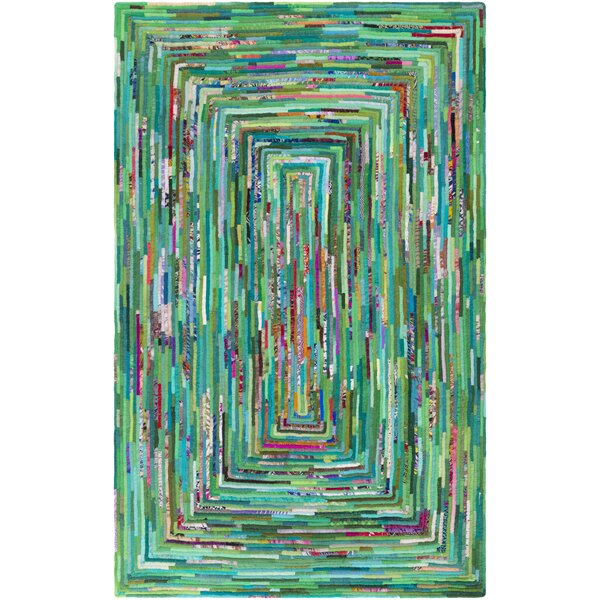 Thao Hand-Woven Green/Blue Area Rug by Ebern Designs