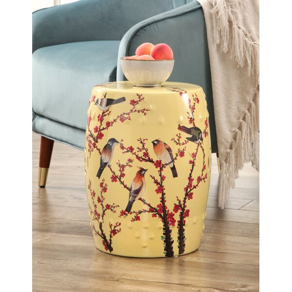 Criss Hand Painted Birds Garden Stool by Bloomsbury Market
