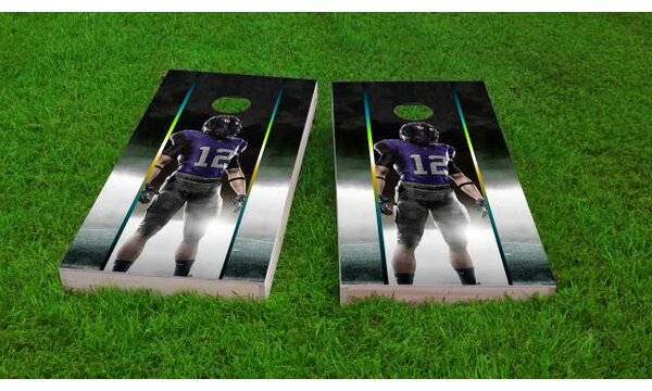 Football Player Cornhole Game (Set of 2) by Custom Cornhole Boards
