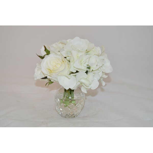 White Rose Mix in Glass Vase by The French Bee