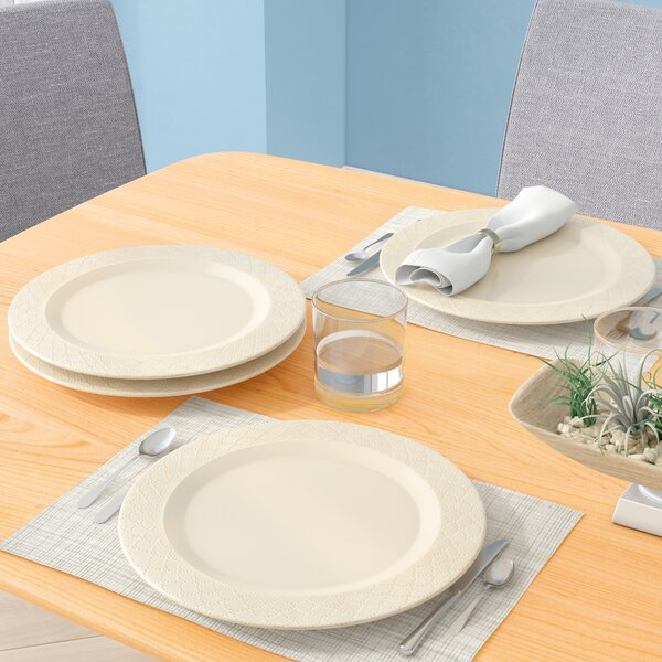 Nickelsville Scallop 11 Dinner Plate (Set of 4) by Bungalow Rose