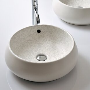 Comparison Area Boutique Ceramic Circular Vessel Bathroom Sink with Overflow By Bissonnet