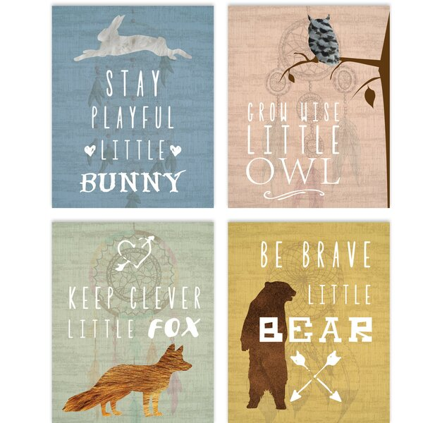 Inspirational Animals Wrapped Canvas Art Set (Set of 4) by Children Inspire Design