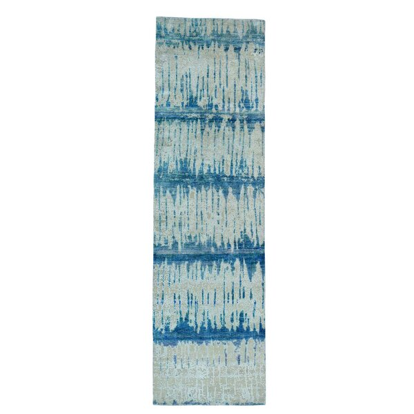 Oidized Cardiac Hand-Knotted Denim Blue/Beige Area Rug by Bloomsbury Market