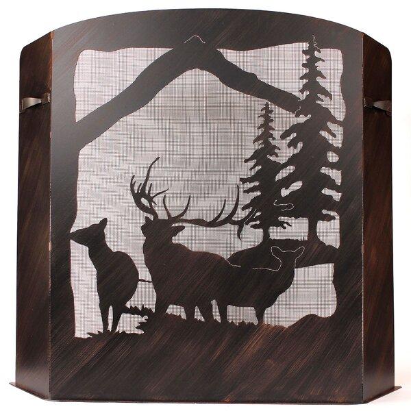 Glenlee Elk Scene 3 Panel Iron Fireplace Screen By Loon Peak