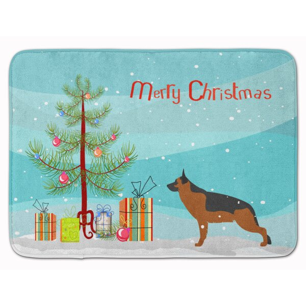 German Shepherd Merry Christmas Tree Rectangle Microfiber Non-Slip Bath Rug