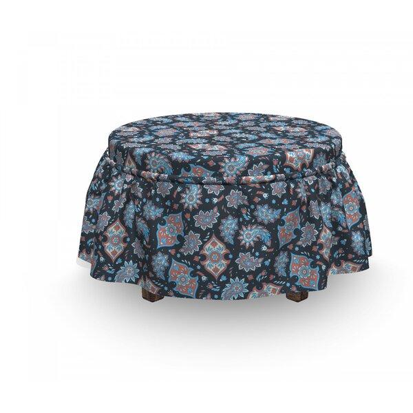 Paisley Persian Folkloric Teardrop 2 Piece Box Cushion Ottoman Slipcover Set By East Urban Home