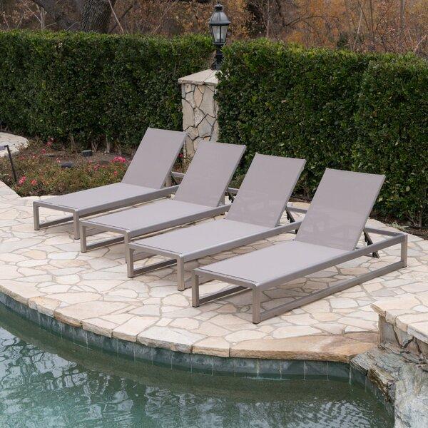 Roberson Reclining Outdoor Chaise Lounge Set (Set of 4) by Orren Ellis Orren Ellis