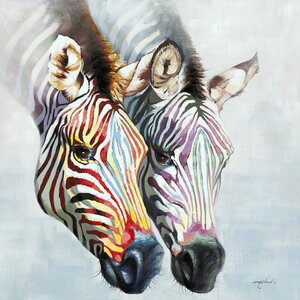 Revealed Artwork Zebras in Color Painting Print on Wrapped Canvas by Yosemite Home Decor